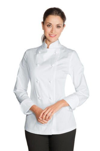 Made 100 Donna Isacco Italy Cuoco Jacket Cotone Chef Bianca Satin Woman Giacca 5qX8awtxx
