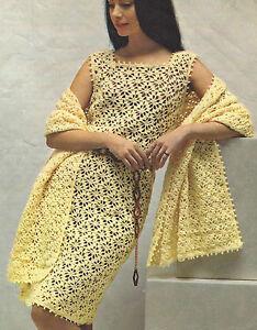 Ladies-Dress-and-beautiful-Stole-Crochet-pattern-34-40-034-4ply-Retro-670
