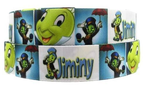 "Jiminy Cricket Character 1/"" Wide Repeat Ribbon Sold in Yard Lots"