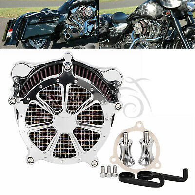 All Chrome Air Cleaner Red Intake Filter Fit For Harley Road Glide FLTRX 08-16