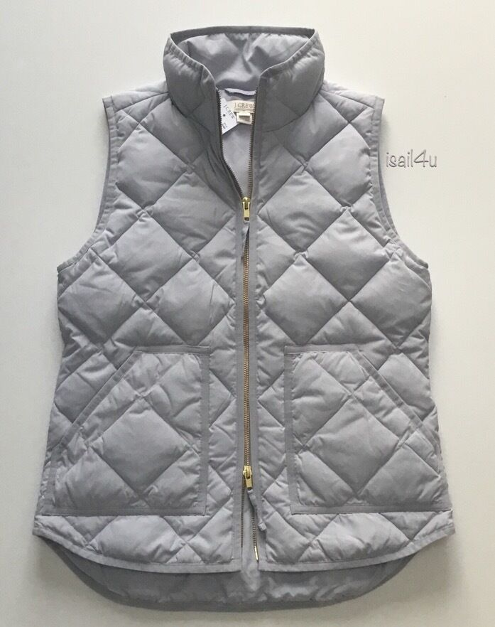 J. Crew Factory Excursion Down Quilted Puffer Vest In Overcast Grey NWT XXS-XL