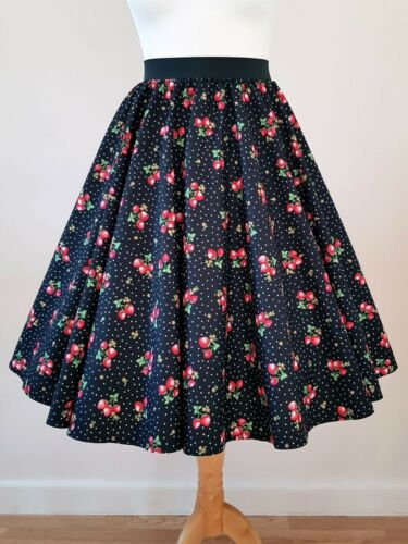 All Sizes Rockabilly Pin Up Cherry 1950s Circle Skirt Strawberry Polka Dot