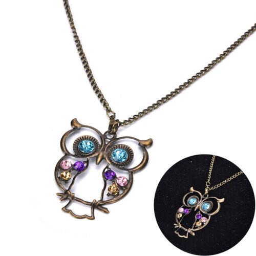 Neue Frauen Vintage Strass OWL Anhänger lange Halskette Schmuck GescheXJ