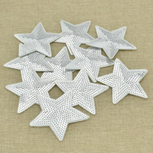 10pcs-Silver-Stars-Patches-Sew-On-DIY-Embroidery-Clothes-Decor-Sequins-Applique