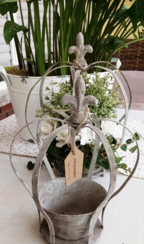 Métal Couronne Couronne avec Lily ArtFerro tuteur pot de fleurs 23 cm Shabby Vintage