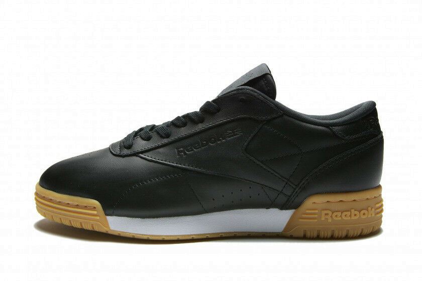 REEBOK EXOFIT LO CLEAN GARMENT LEATHER WOMENS TRAINERS UK SIZE 5 BNIB BLACK GUM