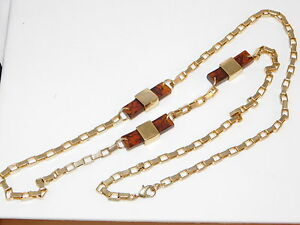 Cool-Vintage-Faux-Tortoise-Resin-Gold-Plated-Chunky-36-034-Chain-Necklace-5e-31