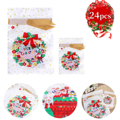 24X Large Christmas Drawstring Bags Merry Christmas Gift Bag Cello Candy Cookies