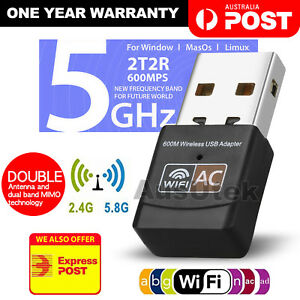Dual Band 600Mbps USB WiFi Wireless Dongle AC600 Lan Network Adapter 2.4GHz 5GHz 870230328935