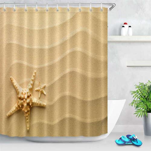 Starfish Sand Waterproof Bathroom Polyester Shower Curtain Liner Water Resistant