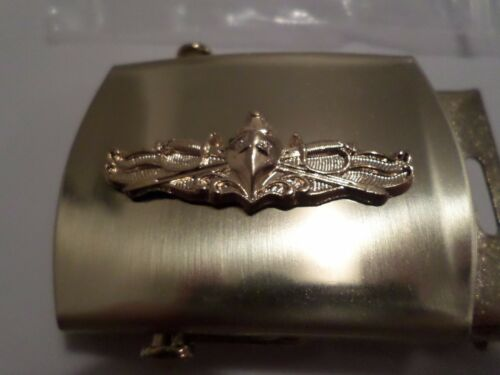 U.S MILITARY NAVY GOLD SURFACE WARFARE SOLID BRASS BELT BUCKLE MADE IN THE U.S.A