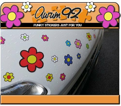 Pack of 30 Funky Flower Colourful Car Stickers