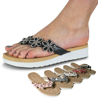 Damenschuhe Zehentrenner Plateau Glitzer Blume Sandalen Sandaletten Keilabsatz
