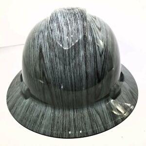 Hard-Hat-custom-hydro-dipped-OSHA-approved-FULL-BRIM-DRIFTWOOD-WOODGRAIN-NEW