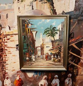 Expressionismus-Altstadtgasse-im-Maghreb-Signiertes-Olgemaelde-Orientalist