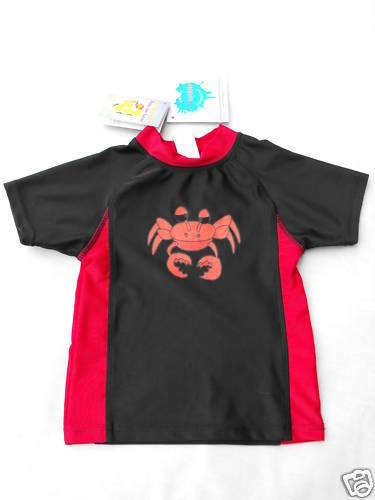 BNWT Black//Red Boy/'s Sz 2 Crab Print Short Sleeve Rash Swim Vest Top
