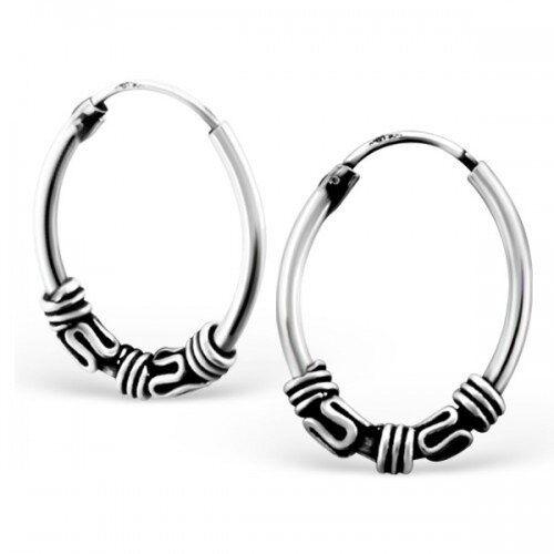 Pair  Of  Sterling  Silver  925  Bali  Hoop  Earrings  18  mm ! Brand New  !!