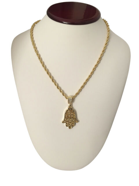 gold plated gift dp box hamsa pendant suay necklace with