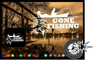 Details Zu Gone Fishing Car Window Bumper Laptop Sticker Vinyl Decal Angling Fly Carp
