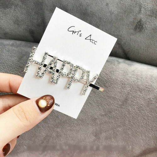 Women/'s Hair Clips Rhinestone Crystal Geometric Clamps Hairpin Barrette Slides