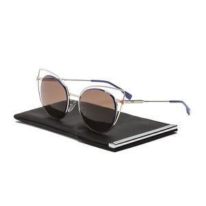 e41ae8624f1b Fendi FF 0176 S Cat Eye Sunglasses 3YGUT Light Gold Blue   Dark ...