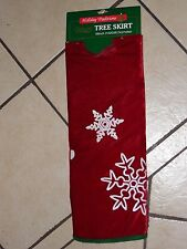 48 INCH DARK RED WITH WHITE SEQUIN SNOWFLAKES TREE SKIRT CHRISTMAS DECORATION