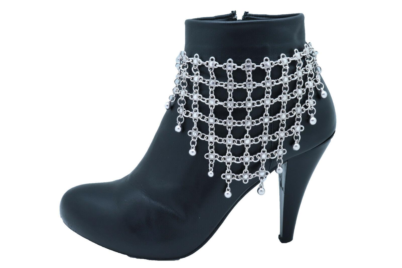 Women Silver Metal Chain Boot Bracelet Shoe Flower Ethnic Style Net Charm Anklet