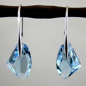 NEW-Women-039-s-Aqua-Blue-Crystal-Drop-Silver-Genuine-Hook-Dangle-Earrings-Jewelry-F