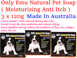 3 x 120g ONLY EMU Soap Pet Natural ( made from Australian Emu Oil )