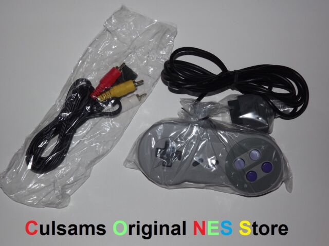 NEW SUPER NINTENDO SNES CONTROLLER & AV CABLES WITH 30 DAY GUARANTEE