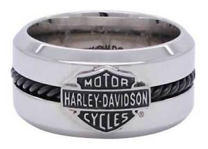 Harley Davidson Mens Stainless Steel Black Wire Bar & Shield Ring Birthday Gift