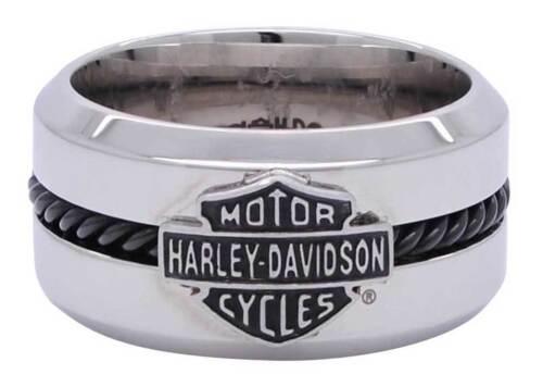 Harley Davidson Mens Stainless Steel Black Wire Bar & Shield Ring Birthday Gift