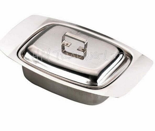 Zodiac Stainless Steel Butter Dish With Wooden Knob