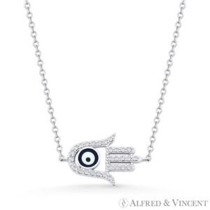 Hamsa-Hand-Evil-Eye-Bead-Charm-CZ-Crystal-925-Sterling-Silver-Pendant-amp-Necklace