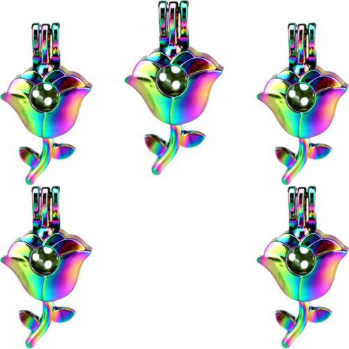 5X-C847 rainbow colorful Pendentif Fleur Rose Aroma Diffuseur Rock Cage Médaillon