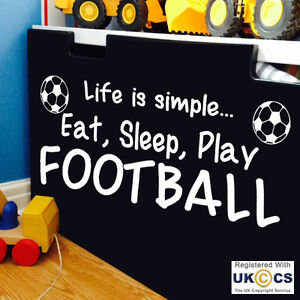 Details Zu Wall Stickers Football Eat Sleep Boys Kids Art Decal Vinyl Decor Home Quote Room