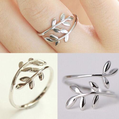 Women Cute Cat Leaf Arrow Silver Finger Rings Opening Adjustable Jewelry Gift