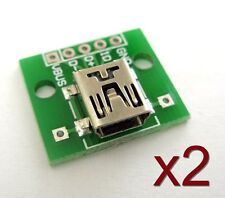 2x Module PCB Mini USB femelle / 2x Mini USB Female connector board PCB plate