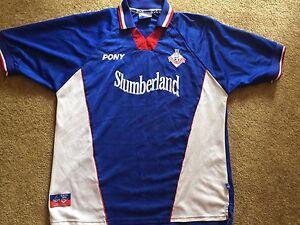 Vintage-Oldham-Athletic-FC-1998-2000-SHIRT-Home-Jersey-PONY-Sz-L