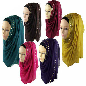 New-Women-039-s-Cotton-Blend-Muslim-Long-Soft-Hijab-Rivet-Islamic-Scarf-Wrap-Shawl