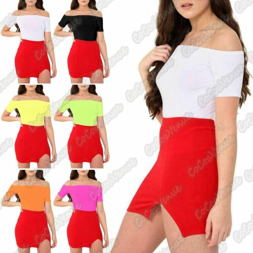 Ladies Short Sleeve Bardot Off Shoulder Plain Basic Viscose Bodysuit Leotard Top