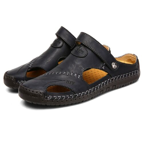 Mens Leather Sandals Summer Casual Beach Shoes Closed Toe Outdoor Sport Slippers