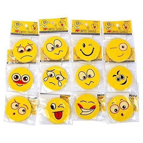 4,5 cm Radier Gummi Rubber Radierer Tombola S//O 36er Pack Radiergummi Smiley ca