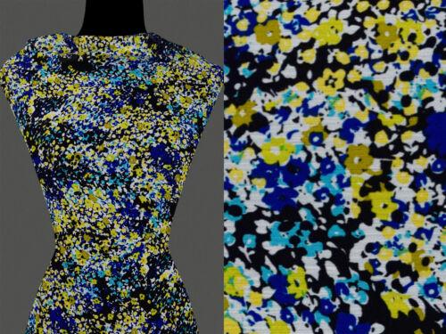 50cm STOFF CHIFFON Abstrakt Flecken kleine Blumen Muster gelb blau 6,60 €//m