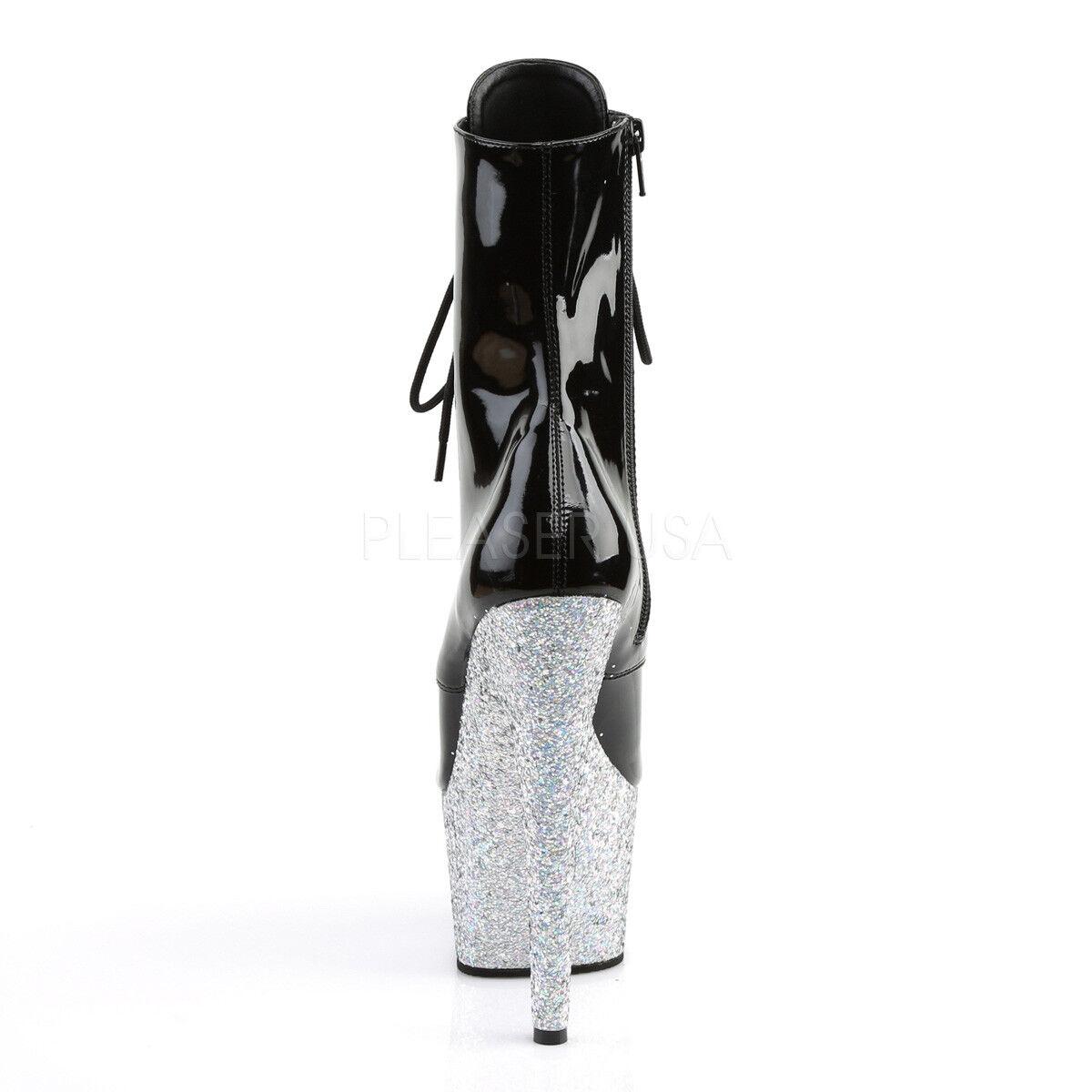Pleaser Sexy 7  talón Stripper plata Glitter Glitter plata Plataforma botas al tobillo con Cordones Negro 42e998