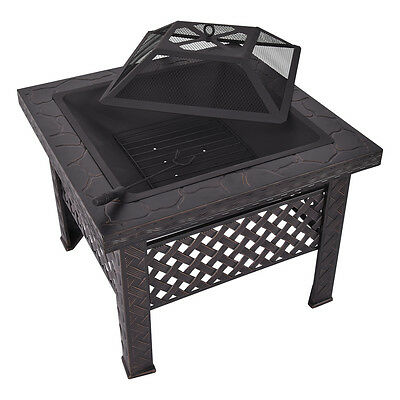 Outdoor Fire Pit Firepit Patio Heater Brazier Garden Square Stove Chiminea BBQ