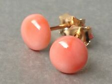 Beautiful Round Pink Coral 14ct Rolled Gold 6mm Stud & Butterfly Earrings