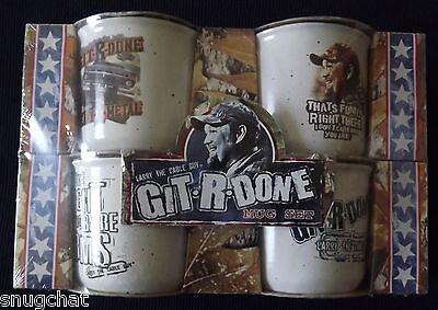 Larry the Cable Guy Git-R-Done 16 oz Ceramic Mugs Mug Set of 4 NEW Original Pkg.