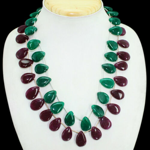 GORGEOUS PEAR SHAPED 516.00 CTS EARTH MINED 2 LINE RUBY /& EMERALD BEADS NECKLACE