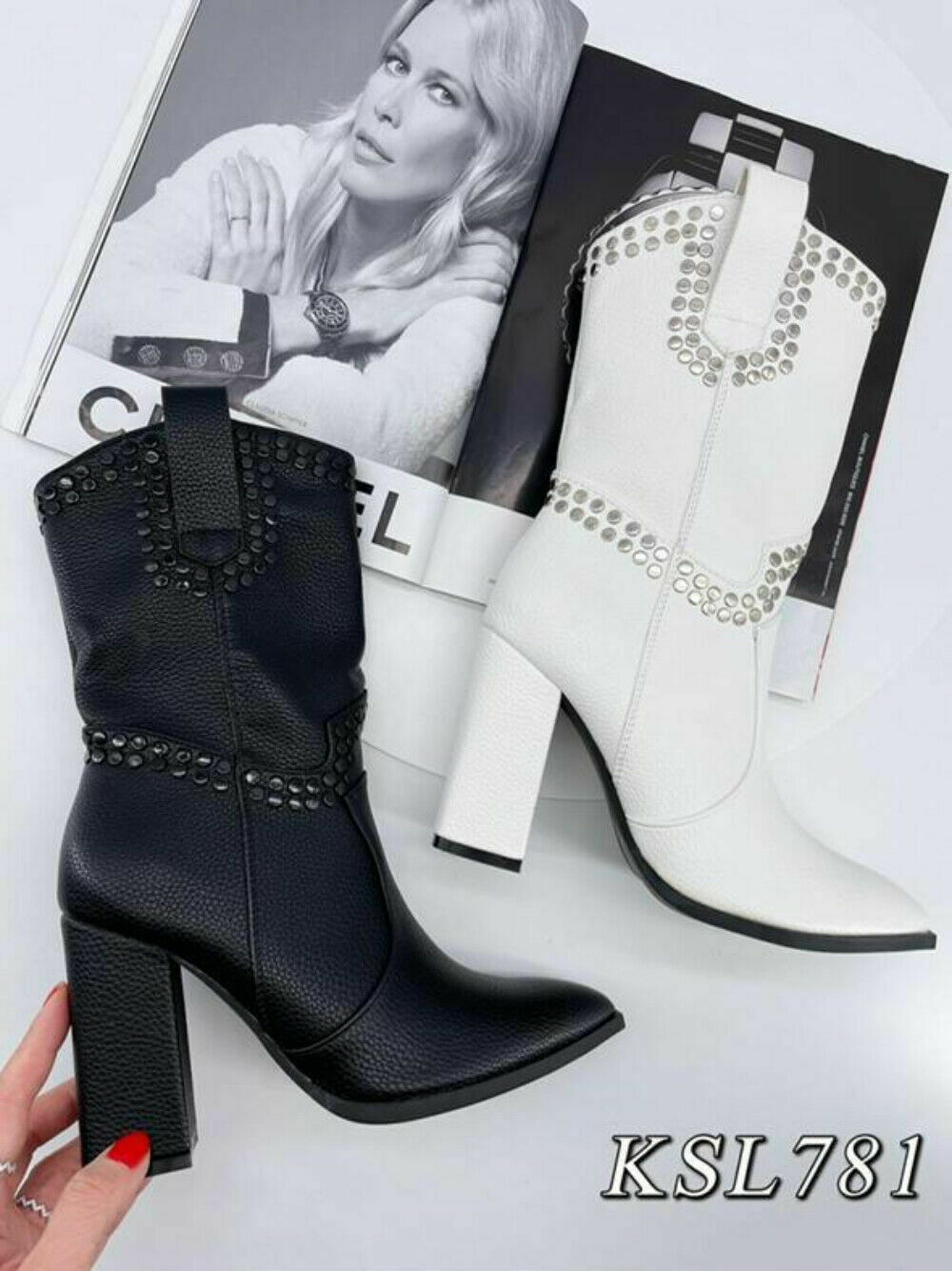 Women's Block Heel Pointed Toe Detailed Studs Black Long Midcalf Office Boots